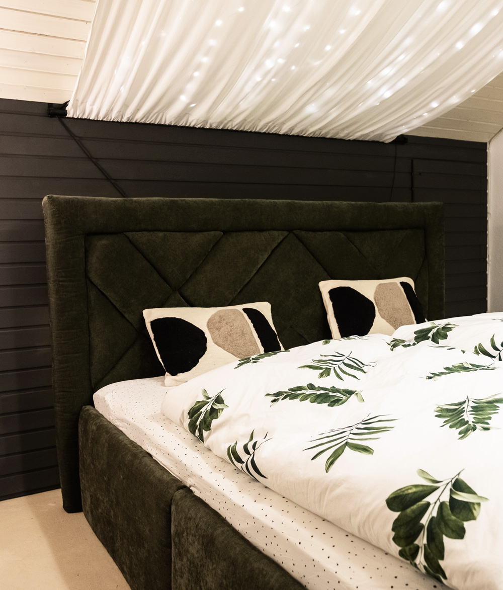 DIY bed with upholstered headboard
